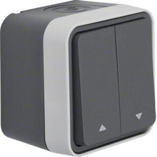 Berker 30753525 Jalousie-Serienschalter 1-polig mit Aufdruck Symbol Pfeile AP W.1 grau