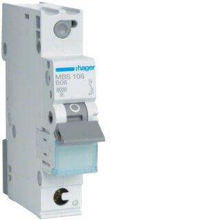 Hager MBS106 Leitungsschutzschalter 1polig 6kA B6A Quick Connect