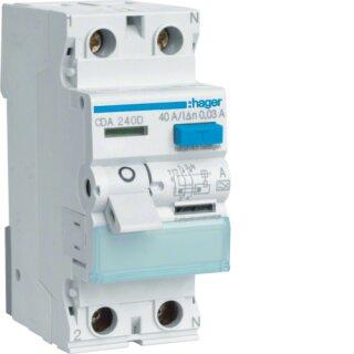 Hager CDA240D Fehlerstromschutzschalter 2 polig 6kA 40A 30mA Typ A