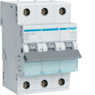 Hager MBN320 Leitungsschutzschalter 3polig 6kA B20A 3M