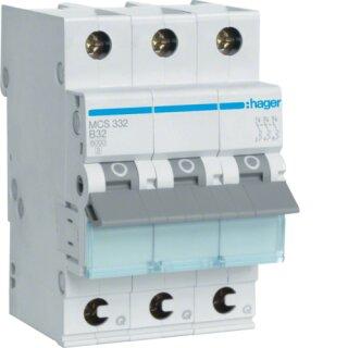 Hager MCS332 Leitungsschutzschalter 3polig 6kA C32A Quick Connect
