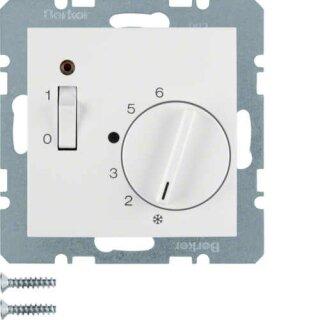 Berker 20308989 Temp.-Regler mit Öffner, Z.-Stk., Wippsch. u. LED S.1 polarweiß, glänzend