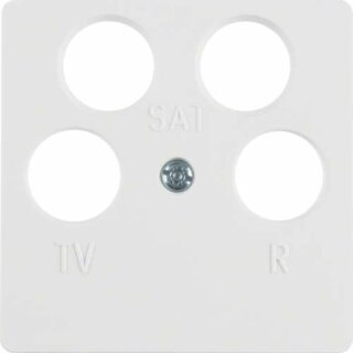 Berker 148409 Zentralplatte f. Antennendose 4Loch polarweiß, glänzend