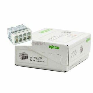 Wago 2273-208 Compact-Dosenklemme 8x0,5-2,5mm²  lichtgrau 50 Stück