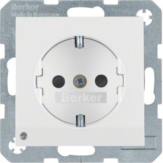 Berker 41098989 Steckdose Schuko mit LED-Orientierungslicht S.1 polarweiß, glänzend