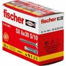 fischer 070021 Spreizdübel SX 6x30S/10 mit Schraube...