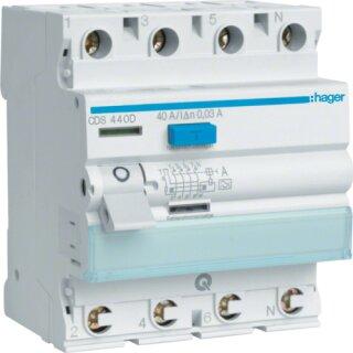 Hager CDS440D Fehlerstromschutzschalter 4 polig 6kA 40A 30mA Typ A QuickConnect