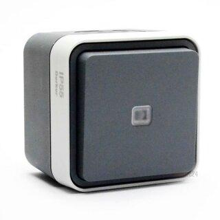 Berker 50763505 Taster, Wechsler beleuchtet AP W.1 grau