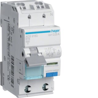 Hager ADS916D Fehlerstrom-Leitungsschutzschalter 1P+N 6kA B-16A 30mA Typ A QuickConnect