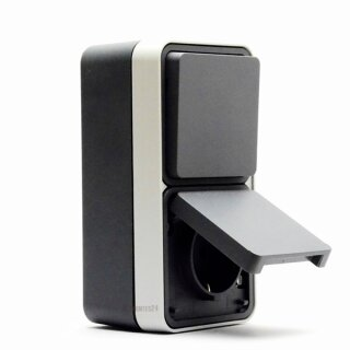 Berker 47803515 Kombination Wechselschalter/Steckdose Schuko mit Klappdeckel AP W.1 grau