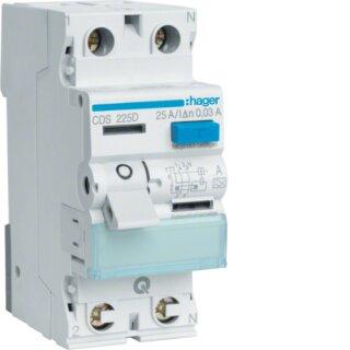 Hager CDS225D Fehlerstromschutzschalter 2 polig 6kA 25A 30mA Typ A QuickConnect