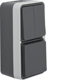 Berker 47903515 Kombination Serienschalter/Steckdose Schuko mit Klappdeckel AP W.1 grau