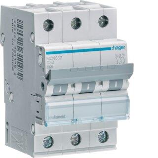 Hager MCN332 Leitungsschutzschalter 3polig 6kA C32A 3M
